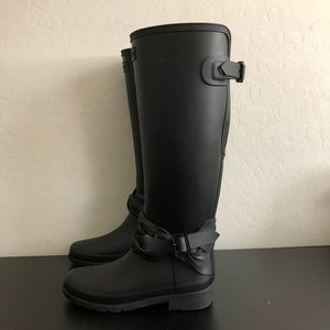 Hunter black Tall braided ankle Rain boot